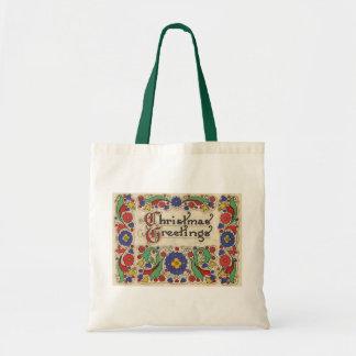 Vintage Christmas Greetings with Decorative Border Budget Tote Bag