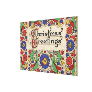 Vintage Christmas Greetings with Decorative Border Canvas Prints