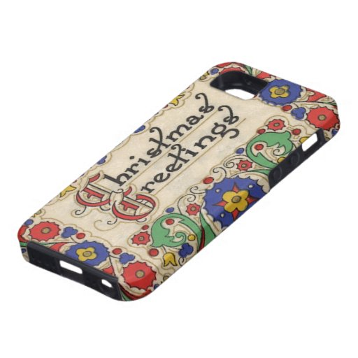 Vintage Christmas Greetings with Decorative Border iPhone 5/5S Case