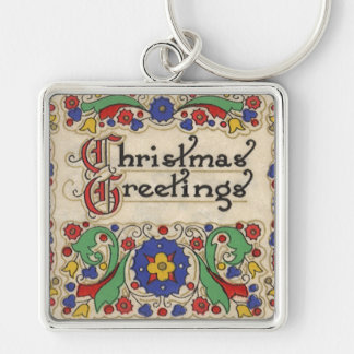 Vintage Christmas Greetings with Decorative Border Keychains