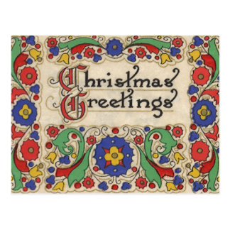 Vintage Christmas Greetings with Decorative Border Postcard