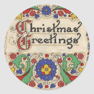 Vintage Christmas Greetings with Decorative Border Sticker