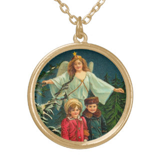 Vintage Christmas Guardian Angel Round Pendant Necklace
