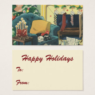 Vintage Christmas Hannukah Pets in the Living Room Business Card