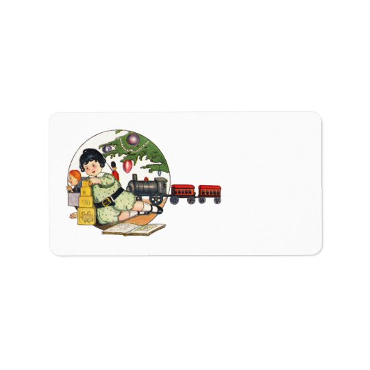 Vintage Christmas, Happy Boy Playing with Toys Address Label