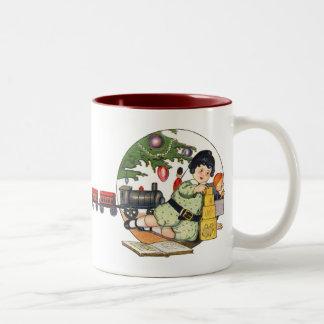 Vintage Christmas, Happy Boy Playing with Toys Two-Tone Coffee Mug
