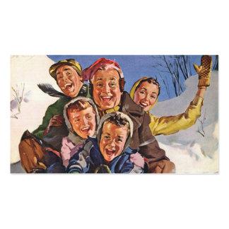 Vintage Christmas Happy Family Sledding Business Card