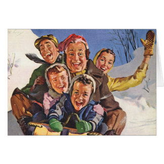 Vintage Christmas, Happy Family Sledding Toboggan Greeting Card