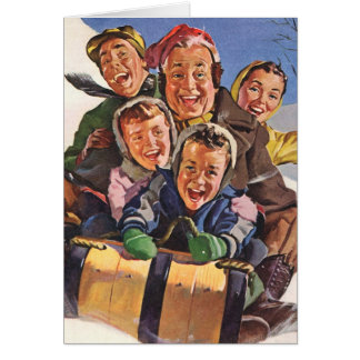 Vintage Christmas, Happy Family Toboggan Sledding Card