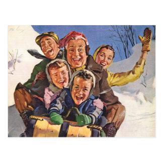 Vintage Christmas, Happy Family Toboggan Sledding Postcard