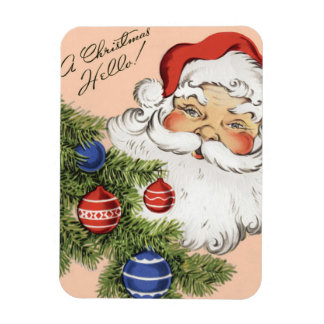 Vintage Christmas Hello! Jolly Santa Claus Rectangular Photo Magnet