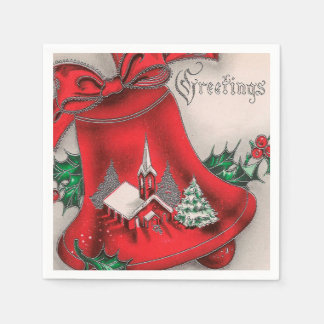 Vintage Christmas Holiday Church bell party napkin Disposable Serviettes