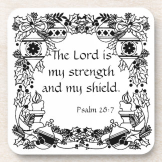 Vintage Christmas Holiday  Strength Psalm 28:7 Coaster