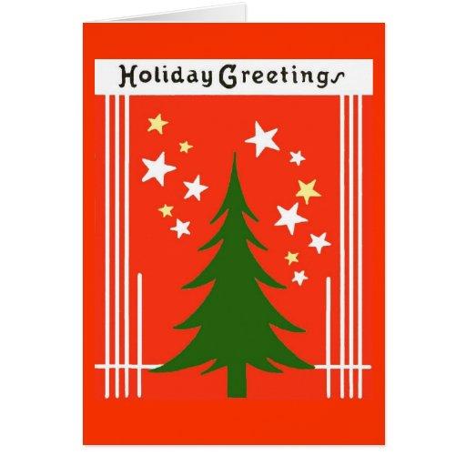 Vintage Christmas Holiday Tree Greeting Card