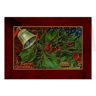 Vintage Christmas Holly and Bell Card