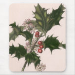 Vintage Christmas, Holly and Berries Mousepads