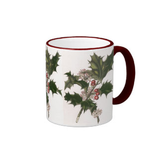 Vintage Christmas, Holly and Berries Ringer Coffee Mug