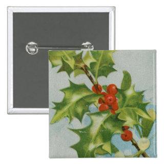 Vintage Christmas Holly Artwork 15 Cm Square Badge