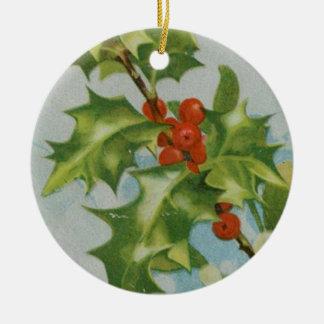 Vintage Christmas Holly Artwork Christmas Ornament