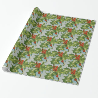 Vintage Christmas Holly Artwork Wrapping Paper