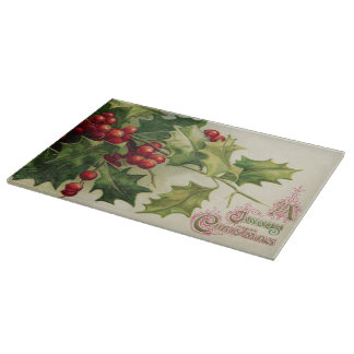 Vintage Christmas Holly berry glass cutting board