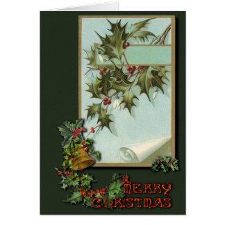 Vintage Christmas holly Card