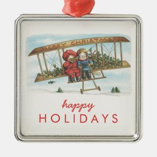 Vintage Christmas Holly Cute Kids Airplane Holiday Christmas Ornament