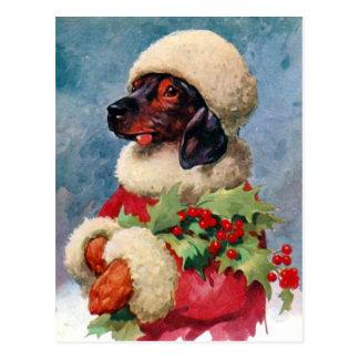 Vintage Christmas Holly Dachshund Postcard