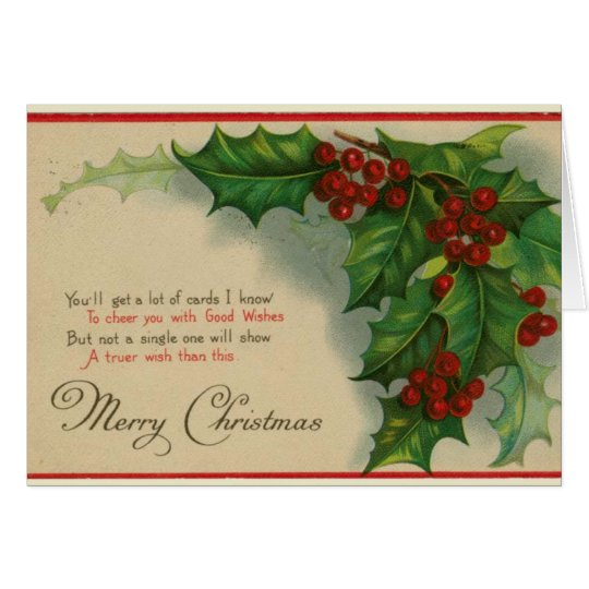 Vintage christmas holly greeting card