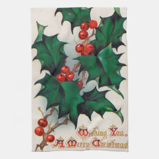 Vintage Christmas Holly kitchen towel