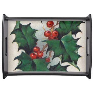Vintage Christmas holly party serving tray