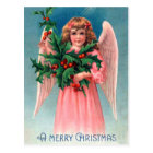 Vintage Christmas holly pink Angel postcard