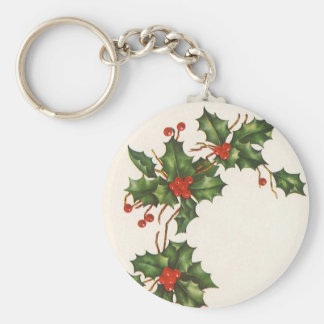 Vintage Christmas, Holly Plant with Red Berries Basic Round Button Key Ring