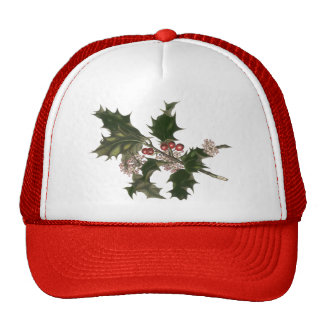 Vintage Christmas, Holly Plant with Red Berries Trucker Hat