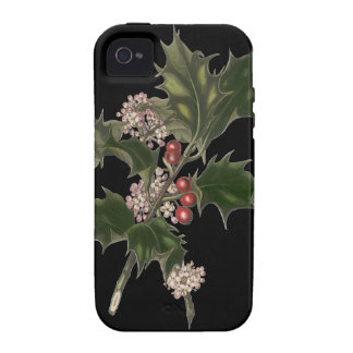 Vintage Christmas, Holly Plant with Red Berries Vibe iPhone 4 Cases
