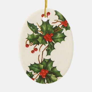 Vintage Christmas, Holly Plant with Red Berries Ceramic Oval Decoration