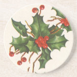 Vintage Christmas, Holly Plant with Red Berries Coaster