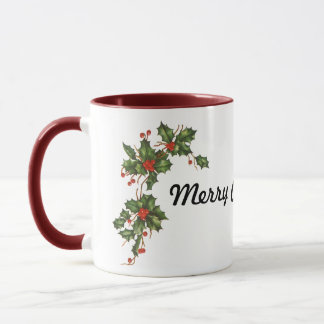 Vintage Christmas, Holly Plant with Red Berries Mug