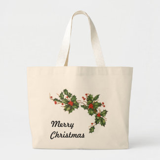 Vintage Christmas, Holly Plant with Red Berries Jumbo Tote Bag