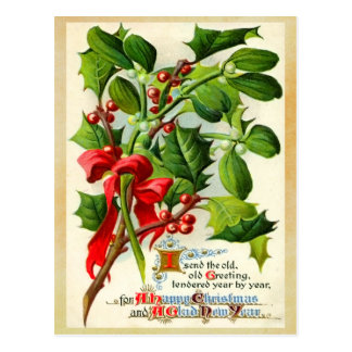 Vintage Christmas Holly Postcard