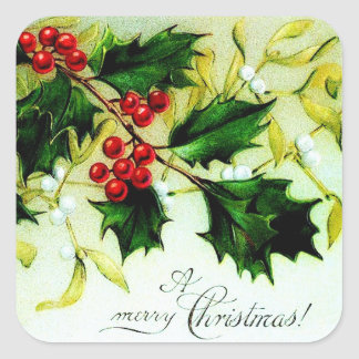 Vintage Christmas Holly Square Sticker