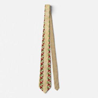 Vintage Christmas Holly Stripes Tie