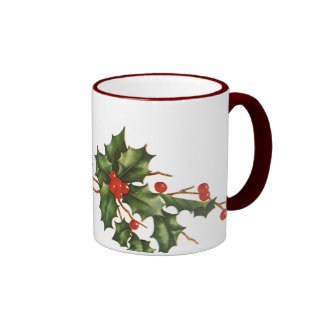 Vintage Christmas, Holly with Red Berries Ringer Coffee Mug