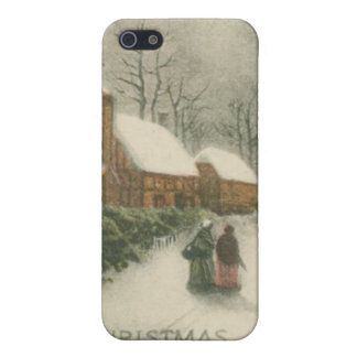 Vintage Christmas Home with Snow iPhone 5 Case