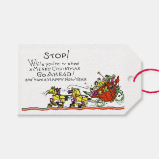 Vintage Christmas Horse & Buggy Humor Holiday Gift Tags