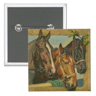 Vintage Christmas Horses 15 Cm Square Badge