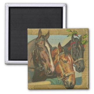 Vintage Christmas Horses Square Magnet