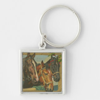 Vintage Christmas Horses Silver-Colored Square Key Ring