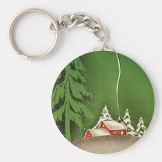 Vintage Christmas, House in Forest Winter Snow Basic Round Button Key Ring