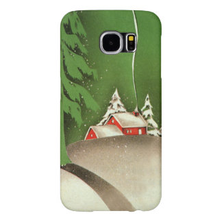Vintage Christmas, House in Forest Winter Snow Samsung Galaxy S6 Cases